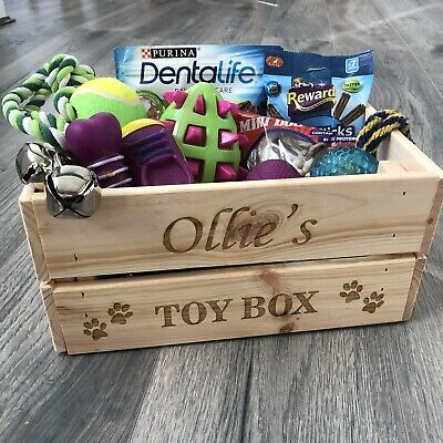 Personalised Cat//dog//pet Wooden Crate Toy Box Storage For Treats