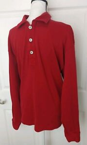 ORVIS-Mens-Red-1-4-button-Long-Sleeve-Shirt-Size-Large-Pullover-Henley-Cotton-L