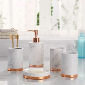 Marble Look With Rose Gold Trim 5 Piece Bathroom Accessory
