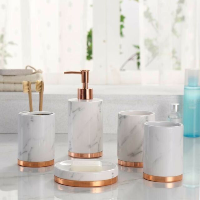 Astounding Marble Look With Rose Gold Trim 5 Piece Bathroom Accessory Set Home Interior And Landscaping Fragforummapetitesourisinfo