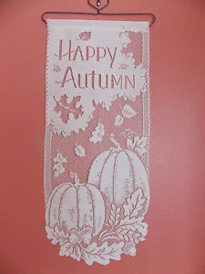 HERITAGE LACE WHITE HAPPY AUTUMN WALL BANNER 11.5WX28 ITEM 4066
