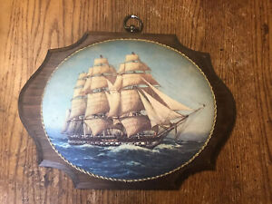 Vintage-Wood-Ship-Picture-Wall-Hang-Plaque-Art-12-x9