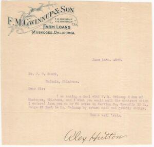 1909-Muskogee-Oklahoma-Farm-Loans-Letterhead-F-M-Gwinnup-amp-Son