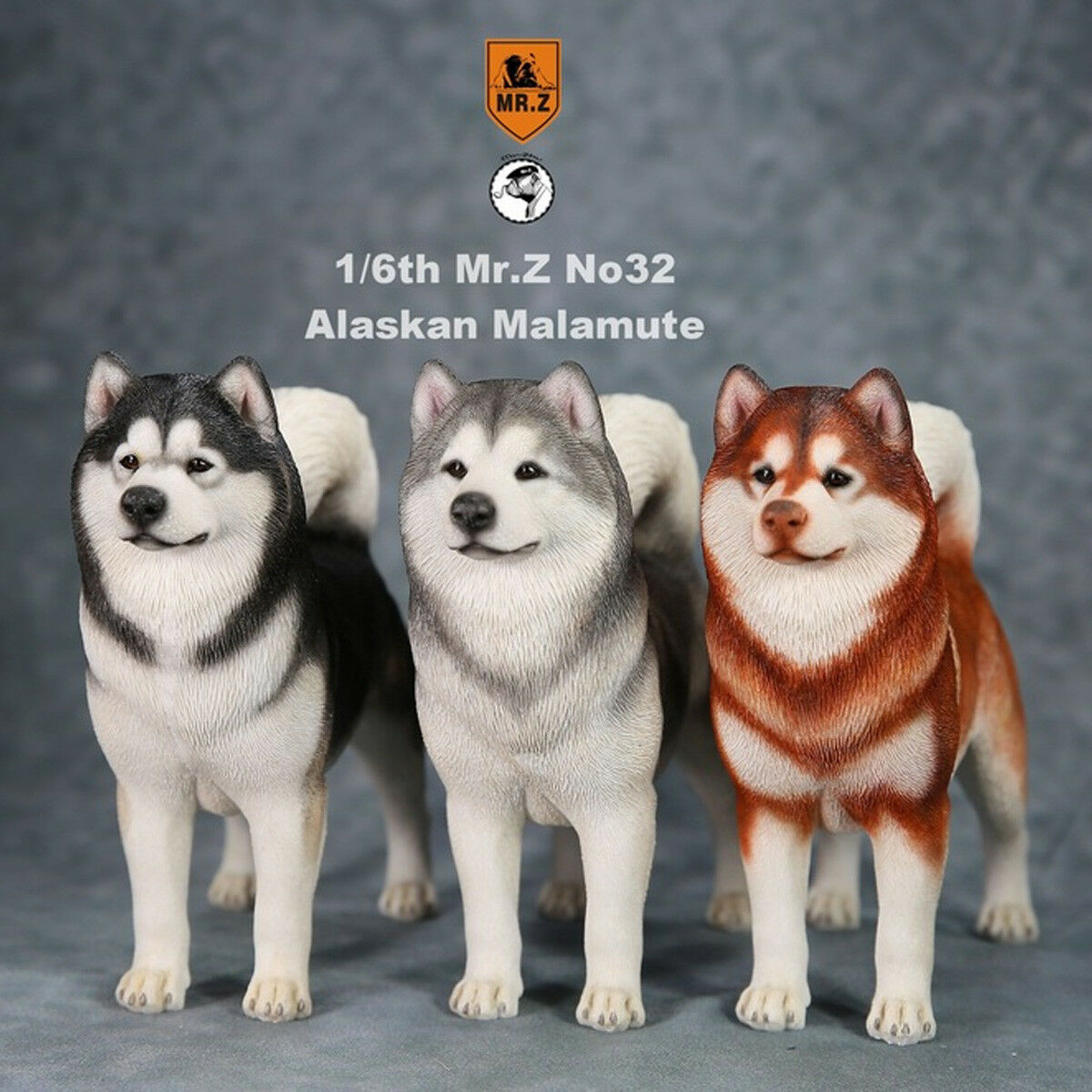 Mr.Z MRZ032 1 6 Scale Alaskan Malamute Animal Dog Model Toys 3 colors Available