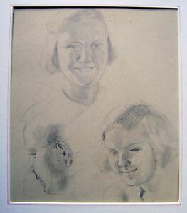 SMALL-PORTRAITS-THREE-PORTRAITS-PENCIL-ENGLISH-SCHOOL-C1900