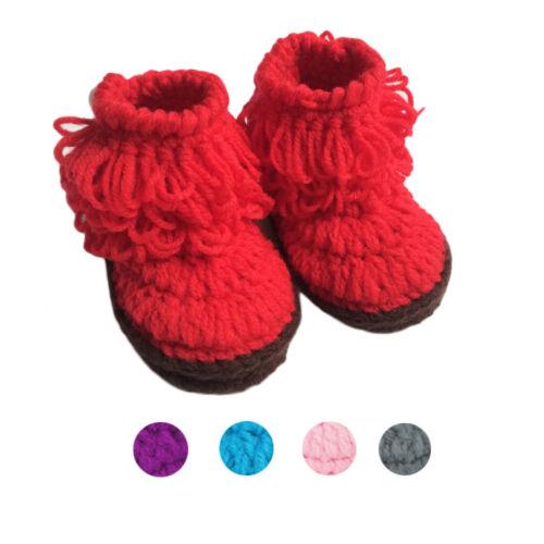 Enfant Bébé Fille Garçon Chaussures crochet fait main tricot High-top Tall Bottes Chaussures 2015