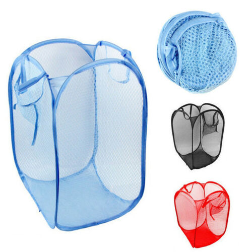 2 Pack Extra Large Folable Laundry Basket Mesh Hamper Washing Clothes Bag Bin