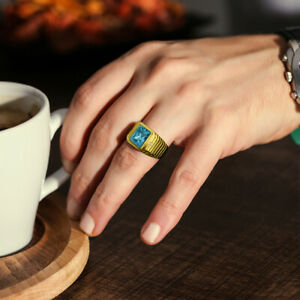 Blue-Topaz-Mens-Ring-in-Solid-14K-Yellow-Gold-Natural-Diamonds-Fine-Ring-for-Men