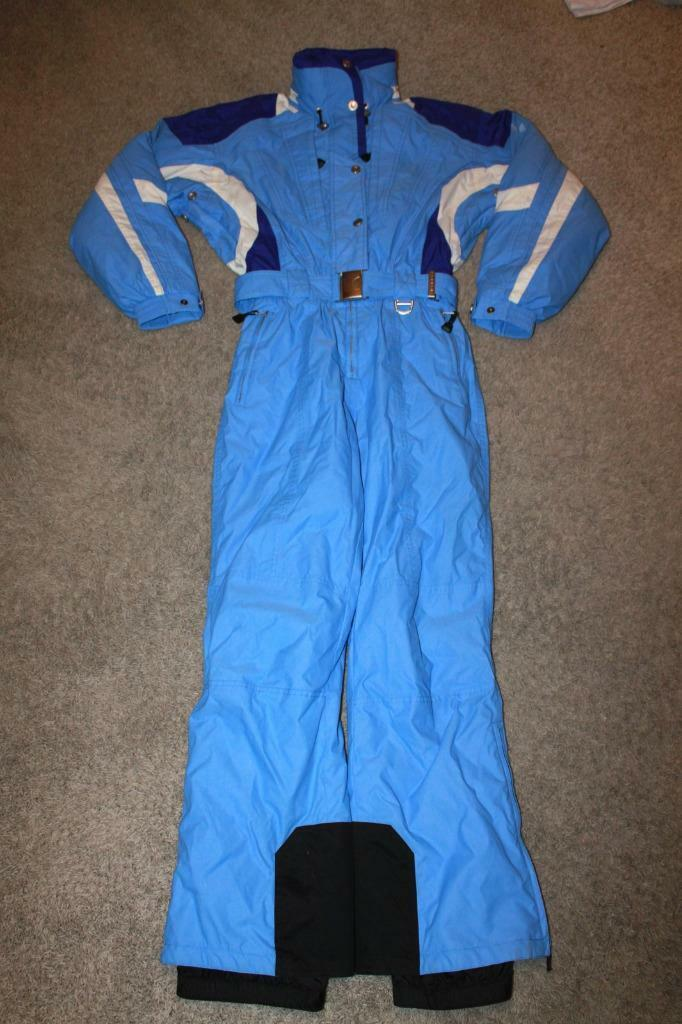 Vtg damen COULOIR FUSION Lined Insulated Snow Ski Suit - Sz 8 - Blau Retro