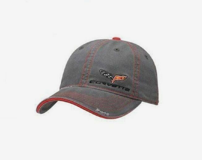 MEN'S CORVETTE EMBROIDERED C6 HAT/CAP GRAY TWILL EMBROIDERED CORVETTE C6 EMBLEM FRAYED LOOK NEW fe4db2