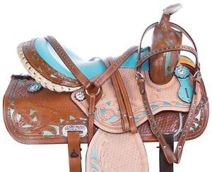 PRO 14 15 GAITED WESTERN BARREL RACING SHOW TRAIL HORSE LEATHER SADDLE TACK