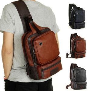 Men-039-s-Tactical-Sling-Chest-Shoulder-PU-Leather-Backpack-Satchel-Bag-Day-Pack-Us