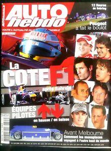 Belle Auto Hebdo Du 24/03/2010; La Côte F1 Après Bahreïn/ 12 Heures De Sebring Avec Les éQuipements Et Les Techniques Les Plus Modernes