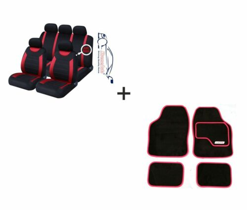 Black CAR Seat Covers Matching Mat Set For Hyundai 9 PCE Sports Carnaby Red