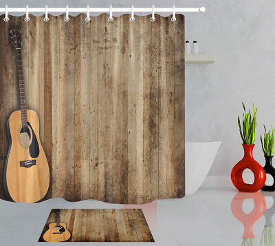 Fishing Lures on Rustic old Wooden Fence Waterproof Fabric Shower Curtain Set