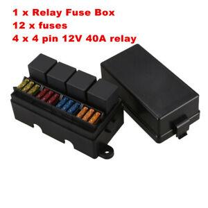 12 Way Car Blade Fuse Box 4-relay Holder Block 12V w/Spade Terminals & Fuse  | eBay | Relay Holder Fuse Box Terminals |  | eBay