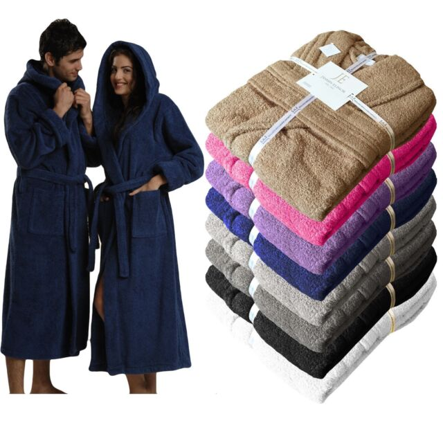 Mens Ladies Egyptian Cotton 500 GSM Terry Towaling Shawl Collar Hooded Bathrobe