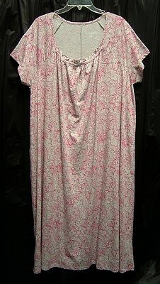 WOW~LONG SOFT COTTON BLEND STRETCH KNIT SMOCKED TOILE GOWN NIGHTGOWN PLUS~4X~NEW
