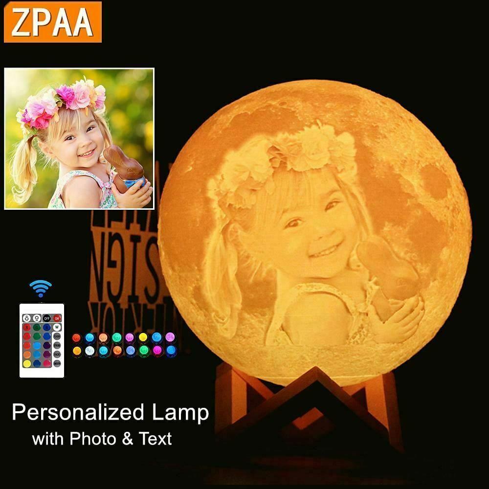 Foto/Text Maßgefertigt Mond Lampe Nachtlicht 3D Aufdruck Wiederaufladbar