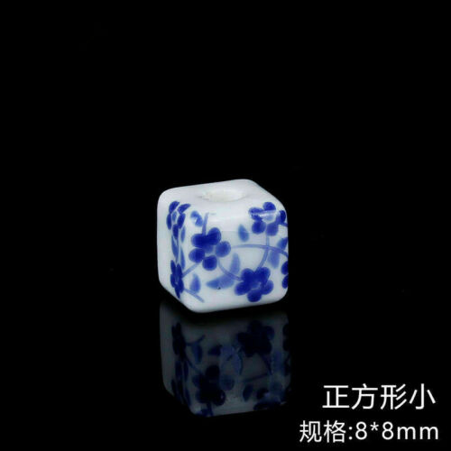 10Pcs Ceramic Round Blue /& White Porcelain Loose Beads DIY Craft Jewelry Making