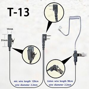 Details about 2-wire Headset Earpiece Mic For ICOM IC-F14 IC-F16 IC-F24 on