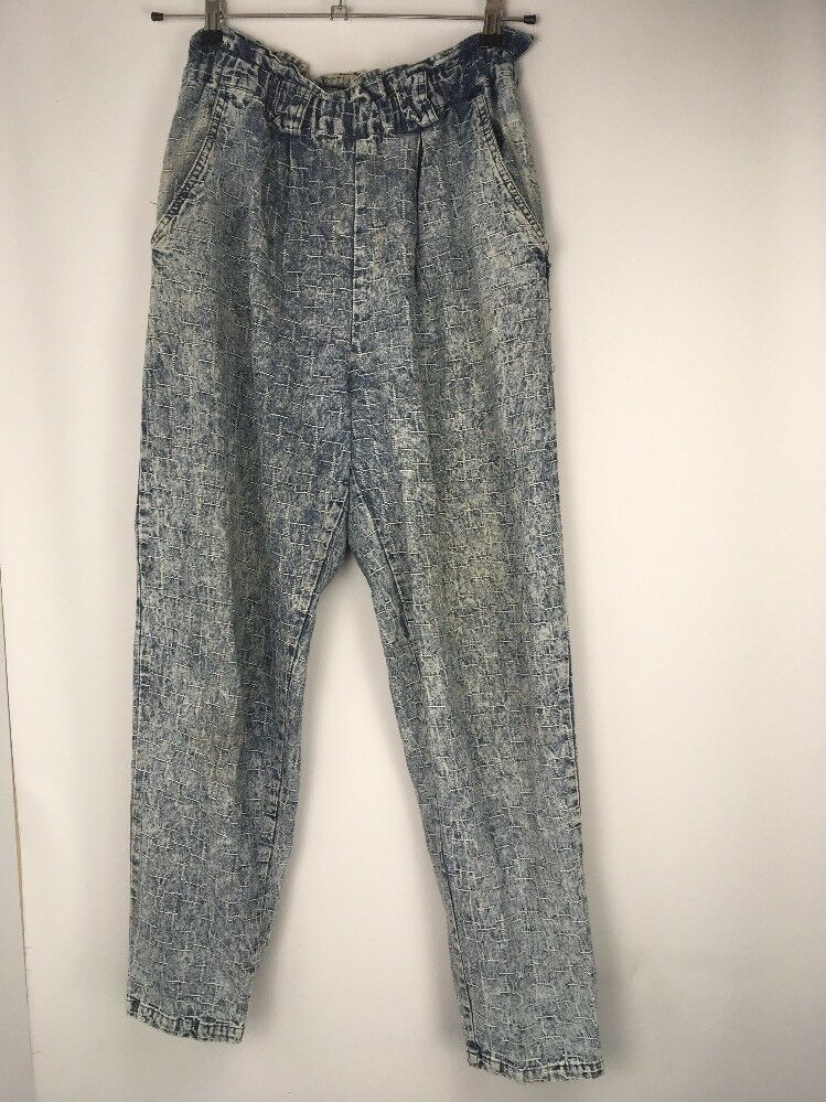 VTG 80s FORENZA High Waisted Pleated Acid Wash Elastic Jeans Pants Sz 11 12 MOM