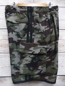 Beverly-Hills-Polo-Club-Mens-Medium-Camo-Cargo-Swim-Trunk-Hybrid-Shorts-New