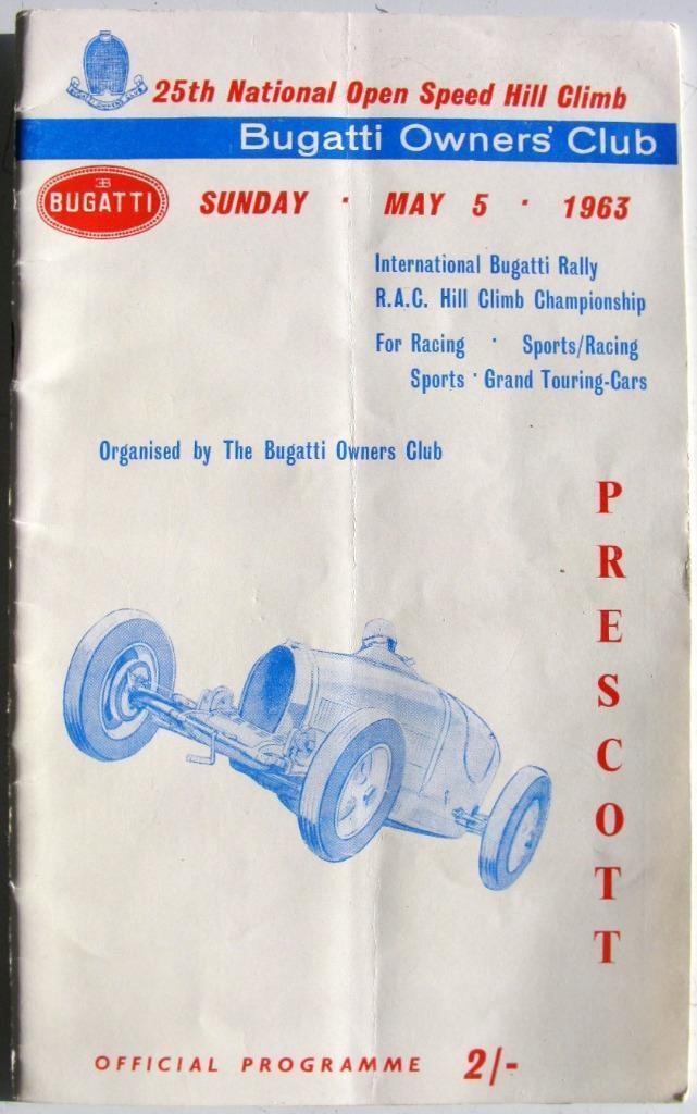 Prescott 5 de mayo de 1963, Bugatti propietarios propietarios propietarios Club Motor Racing Programa Oficial 532fc4