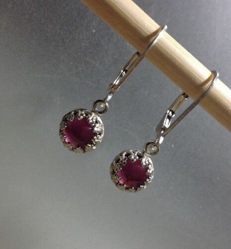Sterling Silver 6MM Round Cabochon Natural Gemstone Dangle Lever Back Earrings