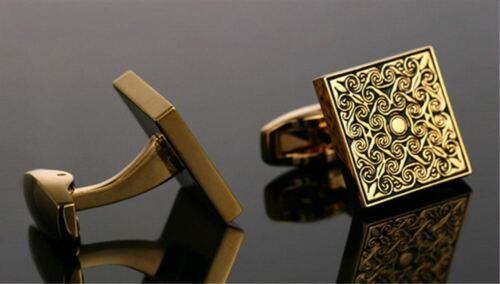 Vintage Gentleman Gold Plated Flower Engraving Cufflinks Cuff Links Wedding