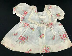 True-Vintage-Organdy-Doll-Dress-Rose-Floral-Cottage-Antique-Bib-Collar-LOVELY