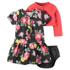 70898d259 Baby Girls Carter's 3-Piece Floral Black Dress & Red Cardigan Outfit ...