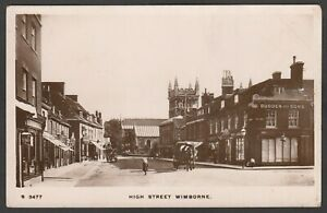 Postcard-Wimborne-nr-Poole-Dorset-early-view-of-High-Street-shops-etc-RP-WHS