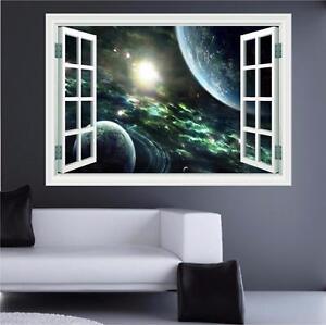 Space Planets Stars Galaxy Fantasy Print Window Wall Art Sticker Decal Print P4k Ebay