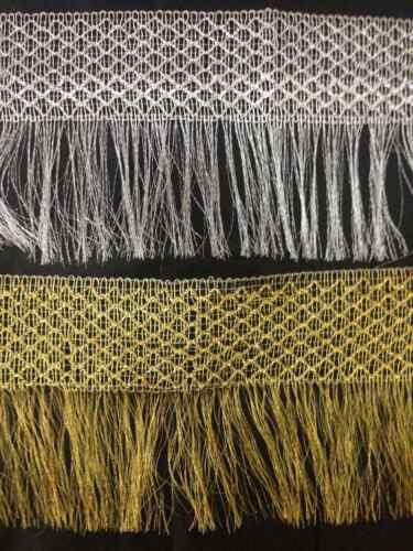 fashion 1 Yard 6inch appx Silver Gold Lurex Metallic Fringe Dress Edging craft