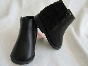 Infant Baby Girls Black Ruffle Boots