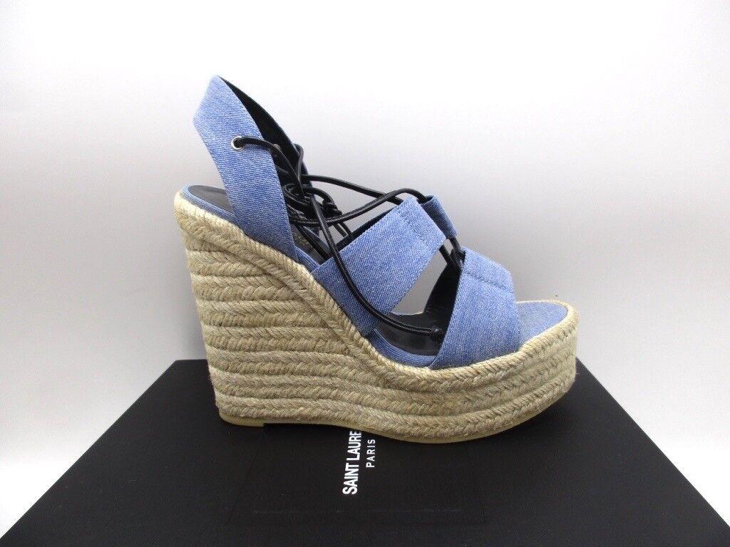 Saint Laurent YSL Espadrille 95 Wedge Denim Platform Sandals 39.5 9.5
