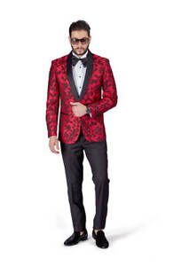 luxuriant in design yet not vulgar purchase original Details about Slim Fit 1 Button Shawl Satin Collar Red Floral Jacket Tuxedo  Black Pants 7114