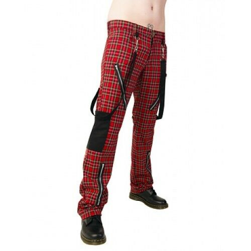 "Black Pistol Hose /""Punk Pants/"" Tartan rot Schottenmuster Kariert Gr.28-40 INCH"