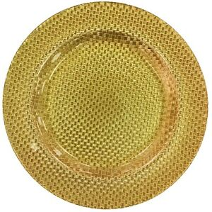 Glass-Large-Serving-Plate-Charger-Plate-Ornamental-Plate-Gold-33cm-Chequered