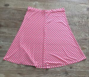 ANN-TAYLOR-Neon-Bright-Pink-Striped-A-Line-Jersey-Knit-Skirt-Womens-Size-M