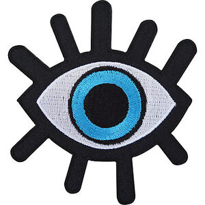 Evil-Eye-Embroidered-Iron-Sew-On-Patch-T-Shirt-Jeans-Black-Embroidery-Badge