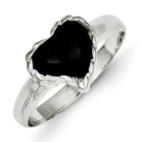925 Sterling Silver Polished /& Textured Antiqued Black Onyx Heart Ring Sz 6-8