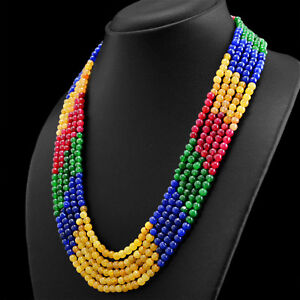 377-50-CTS-EARTH-MINED-3-LINE-RUBY-EMERALD-amp-SAPPHIRE-ROUND-BEADS-NECKLACE