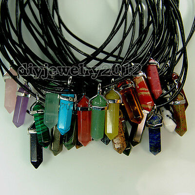"Natural Gemstones Hexagonal Pointed Silver Pendant 18"" Black Leather Necklace"