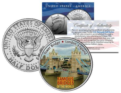 Colorized JFK Half Dollar US Coin London England Famous Bridges TOWER BRIDGE