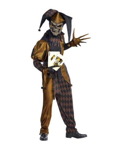 Child Evil Joker Costume Jokers Wild Fancy Dress Jester Clown Halloween Age 8-14