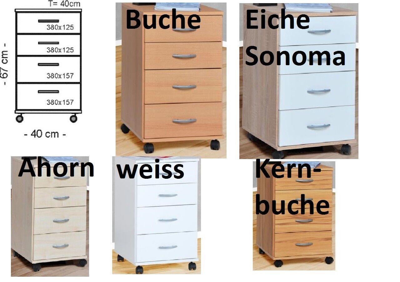 Rollcontainer Büro Container Nachtschrank Kernbuche Buche weiss Ahorn Eiche Büromöbel