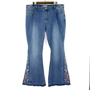 ThCreasa Floral Embroidered Released Hem Flare Blue Stretch Jeans Size 20 / 22