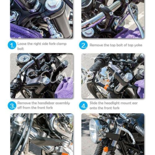 Universal Black Fork Mount Headlight Brackets Motorcycle Motorbike Bike Project